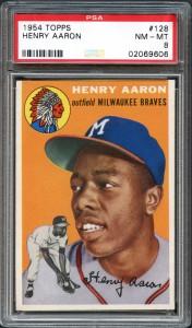 1954 Topps #128 Hank Aaron PSA 8